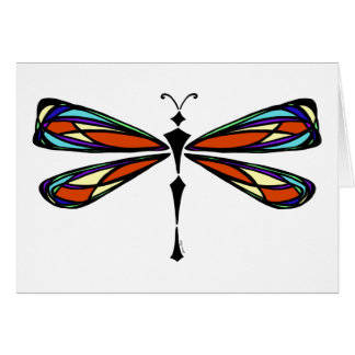 Luna Stained Glass Dragonfly Greeting Card
