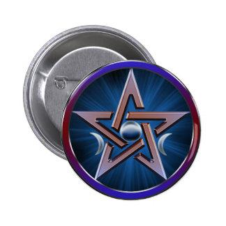 Lunar Goddess Pentagram Button