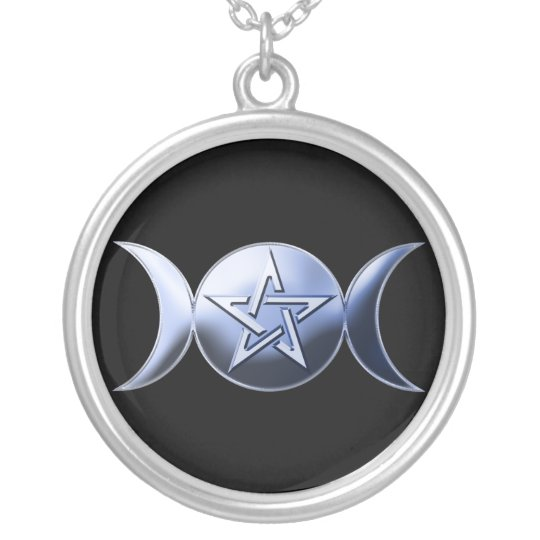 Lunar Goddess Symbol Silver Plated Necklace