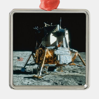 Lunar Module on the Moon Silver-Colored Square Decoration