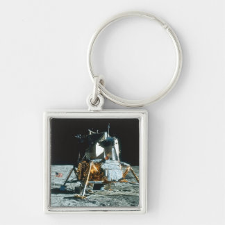 Lunar Module on the Moon Silver-Colored Square Key Ring