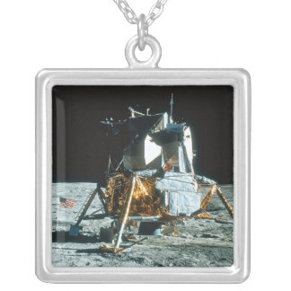 Lunar Module on the Moon Silver Plated Necklace