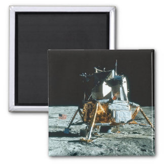 Lunar Module on the Moon Square Magnet