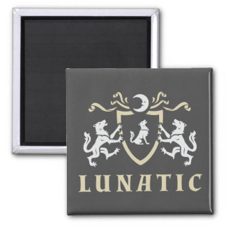 Lunatic Howling Wolf Square Magnet