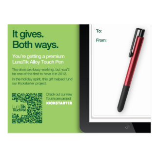 LunaTik Touch Pen gift card - Alloy Postcard