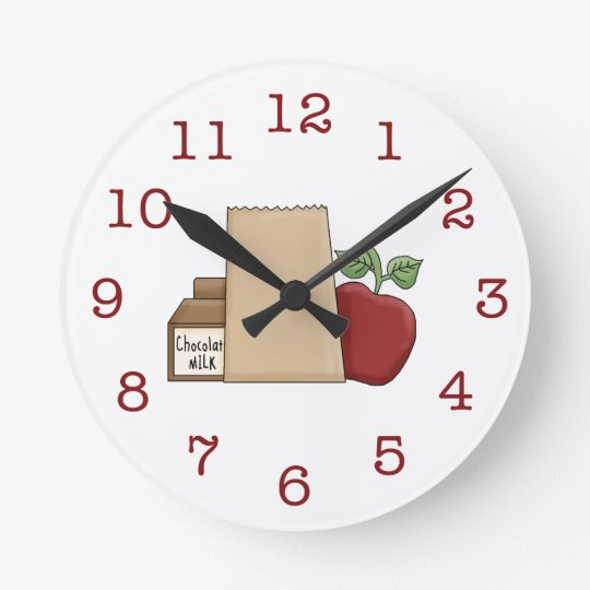 Lunch Bag/Apple/Chocolate Milk Round Clock