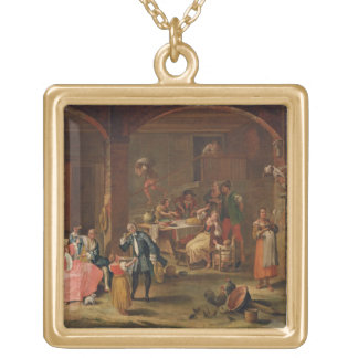 Lunch in the Country (oil on canvas) Pendant