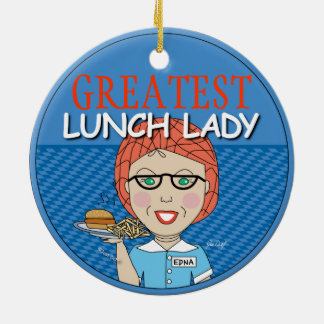 Lunch Lady Round Ceramic Decoration