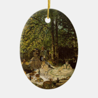 Lunch on grass ceramic oval decoration