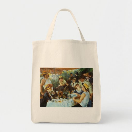 Luncheon of the Boating Party by Pierre Renoir Canvas Bags
