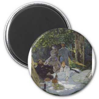 Luncheon on the Grass, Central panel (1865) 6 Cm Round Magnet