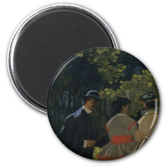 Luncheon on the Grass, Left Panel (1865) 6 Cm Round Magnet