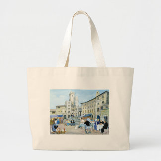 Lunchtime in a Market Square Tuscany Large Tote Bag