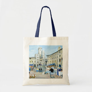 Lunchtime in a Market Square Tuscany Tote Bag