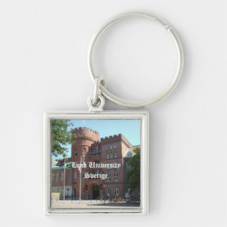 Lund University Castle Silver-Colored Square Key Ring