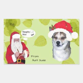 Lundehund w/Santa makin His Naughty or Nice List Rectangular Sticker