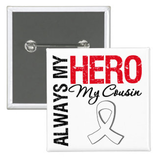 Lung & Bone Cancer - Always My Hero My Cousin 15 Cm Square Badge