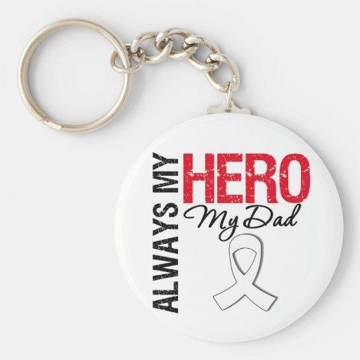 Lung  & Bone Cancer - Always My Hero My Dad Key Chain
