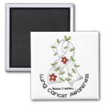 Lung Cancer Awareness FLOWER RIBBON 1 Refrigerator Magnets
