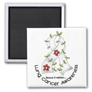 Lung Cancer Awareness FLOWER RIBBON 1 Square Magnet