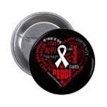 Lung Cancer Awareness Heart Words Pinback Button