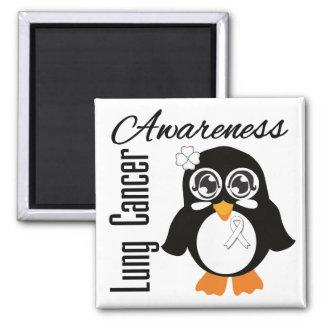 Lung Cancer Awareness Penguin Fridge Magnet