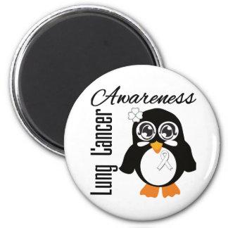 Lung Cancer Awareness Penguin Refrigerator Magnet