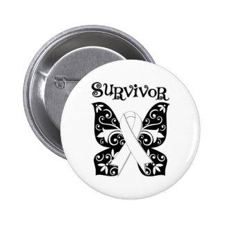 Lung Cancer Butterfly Survivor Pinback Button