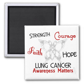 Lung Cancer Celtic Butterfly 3 Square Magnet