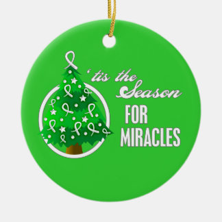 Lung Cancer Christmas Miracles Round Ceramic Decoration
