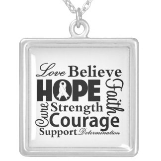 Lung Cancer Collage of Hope Square Pendant Necklace