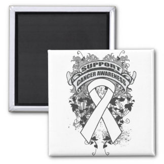 Lung Cancer - Cool Support Awareness Slogan Square Magnet