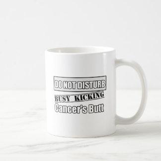 Lung Cancer Do Not Disturb Kicking Butt Basic White Mug
