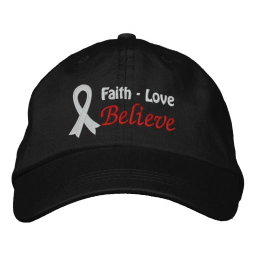 Lung Cancer Faith Love Believe Embroidered Baseball Cap