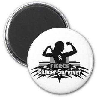 Lung Cancer Fierce Cancer Survivor Fridge Magnet