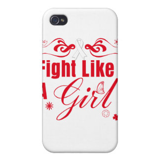 Lung Cancer Fight Like A Girl Ornate iPhone 4/4S Covers