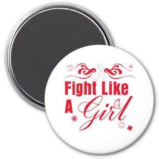 Lung Cancer Fight Like A Girl Ornate Fridge Magnets