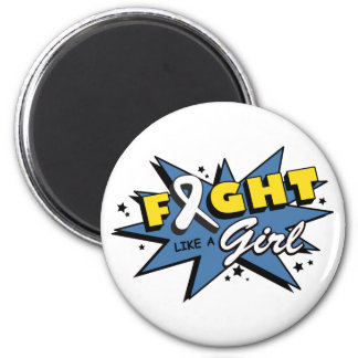 Lung Cancer Fight Like A Girl POW! 6 Cm Round Magnet