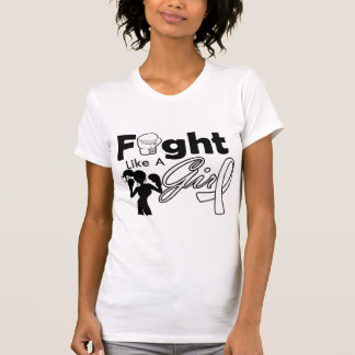 Lung Cancer Fight Like A Girl Silhouette Tshirt
