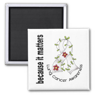 Lung Cancer Flower Ribbon 3 Magnets