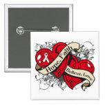 Lung Cancer Hope Faith Dual Hearts 15 Cm Square Badge