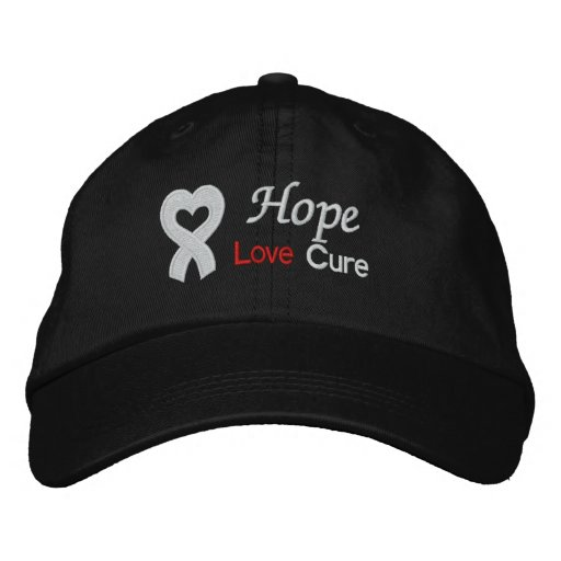 Lung Cancer Hope Love Cure Embroidered Baseball Caps
