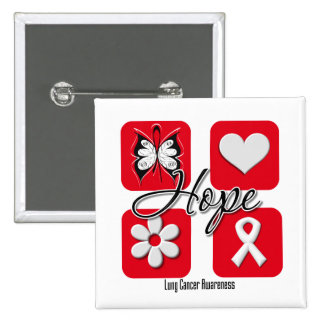 Lung Cancer Hope Love Inspire Awareness 15 Cm Square Badge