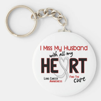 Lung Cancer I Miss My Husband Basic Round Button Key Ring