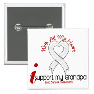 Lung Cancer I Support My Grandpa 15 Cm Square Badge