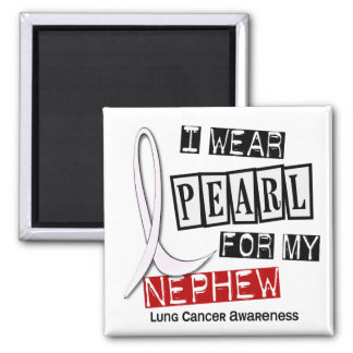 Lung Cancer I WEAR PEARL 37 Nephew Refrigerator Magnet