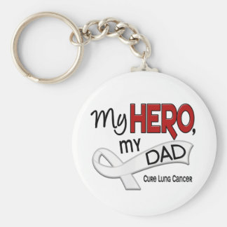 Lung Cancer MY HERO MY DAD 42 Basic Round Button Key Ring