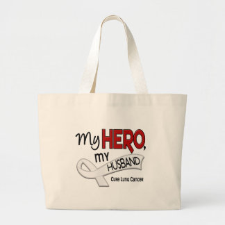 Lung Cancer MY HERO MY HUSBAND 42 Large Tote Bag