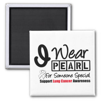 Lung Cancer Pearl Ribbon Someone Special Square Magnet