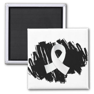 Lung Cancer Pearl Ribbon With Scribble Fridge Magnet